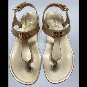 NEW Michael Kors Plate Womens Sandal Gold 6